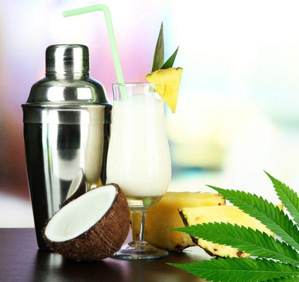 Weed-Pina-colada, cocktsail mit Cannabis, Marijuana-Rezepte