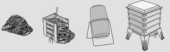 Kompost beim Cannabisanbau, verschiedene Komposter