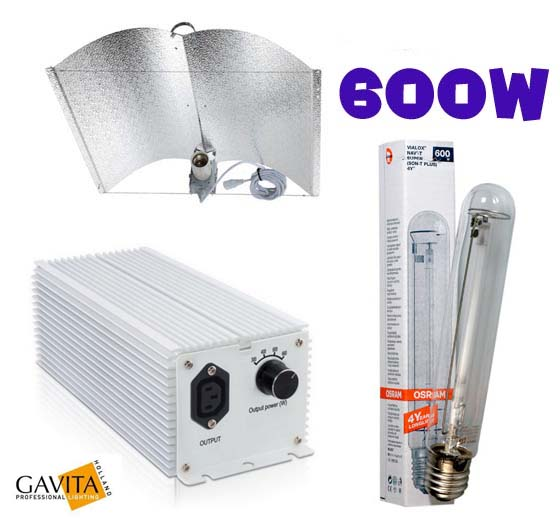 Kit 600W Gavita mit Adjust-a-Wings Reflektor Enforcer, medium, regelbar