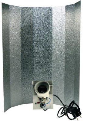 Reflektor Hammerschlag, 50 x 50 cm, montiert, Fassung, Kabel