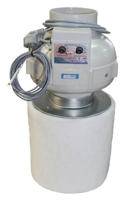 Prima Klima Kit, PK Rohrventilator 125 temp-gesteuert, 420 m³/h + PK-Carbon-Aktivkohlefilter