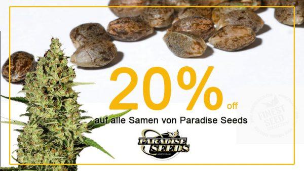 Im Juni gibt es 20% auf alle Cannabissamen von Paradise Seeds, außerdem gratis Seeds zu jeder Bestellung