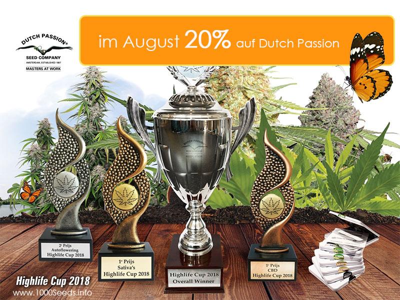 Den ganzen August gibt es 20 Prozent auf alle Cannabissamen von Dutch Passion