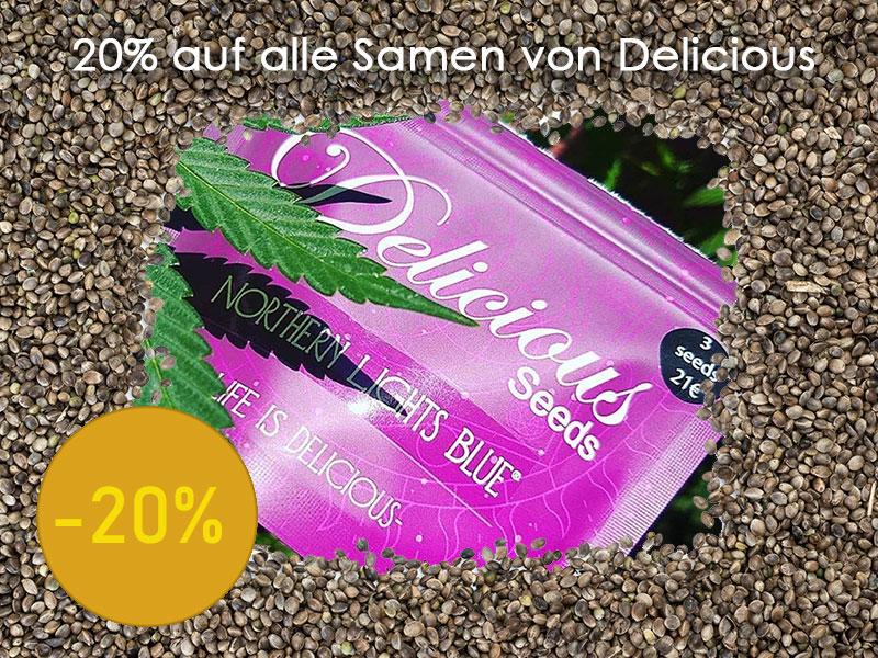 Den kompletten April gibt es 20% auf alle Cannabissamen von Delicious Seeds