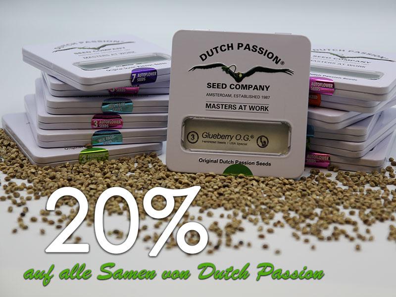 m März gibt es 20% auf alle Cannabissamen von Dutch Passion, automatic seeds, feminisierte Samen